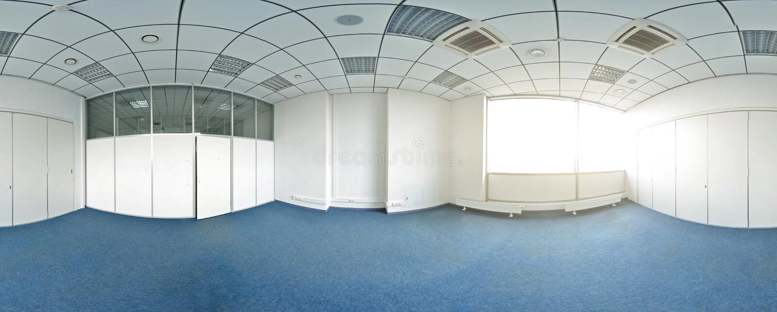 Spherical 360 degrees panorama projection, panorama in interior empty room in modern flat apartments. Spherical 360 degrees panorama projection, panorama in royalty free stock image