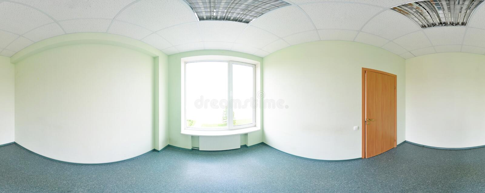 Spherical 360 degrees panorama projection, panorama in interior empty room in modern flat apartments green tone. royalty free stock image