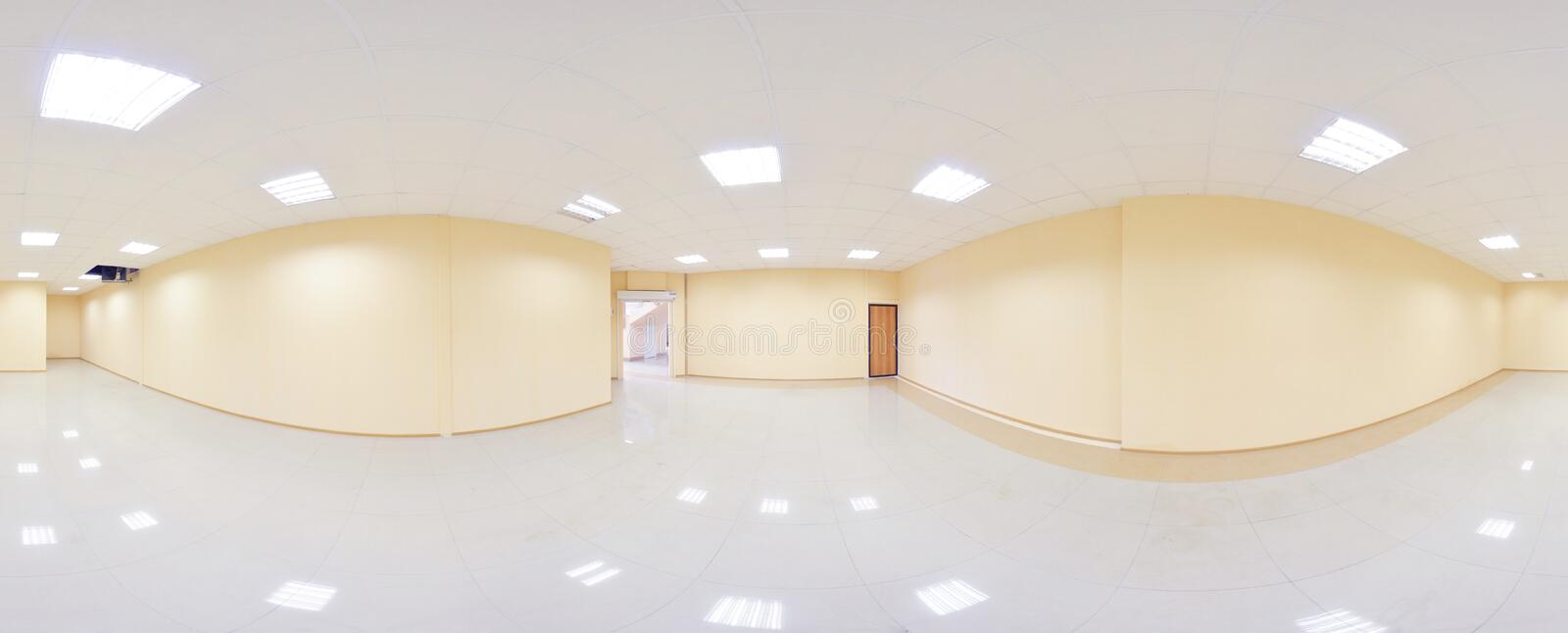 Spherical 360 degrees panorama projection, panorama in interior empty room in modern flat apartments. Spherical 360 degrees panorama projection, panorama in royalty free stock images