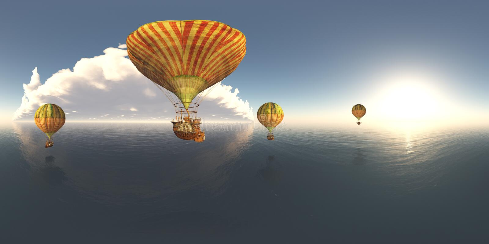 Spherical 360 degrees seamless panorama with fantasy hot air balloons over the sea. Computer generated 3D illustration with a spherical 360 degrees seamless royalty free illustration