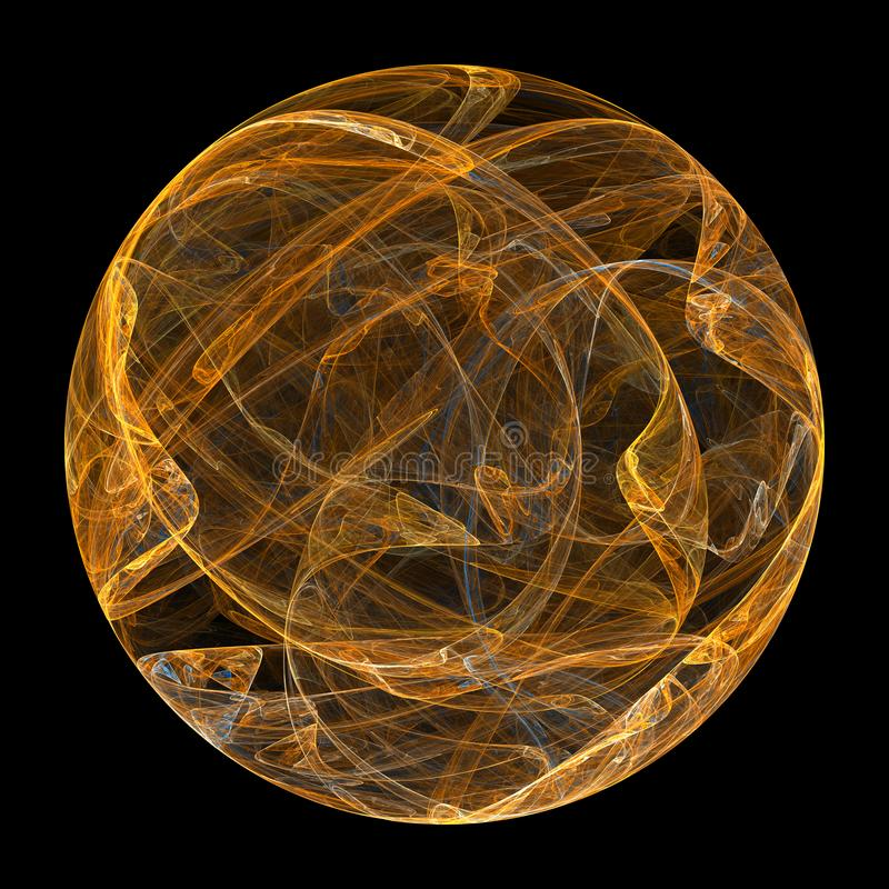 Spherical fractal. Fire ball. Golden flame on a black background. stock photos
