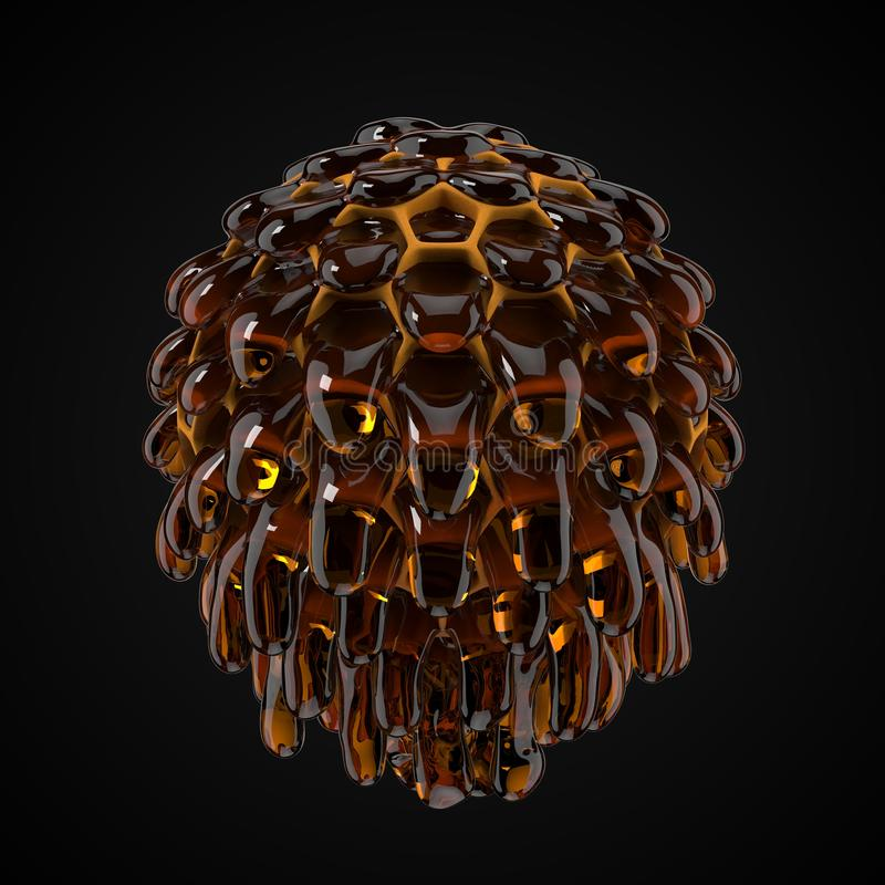 Spherical honeycomb with flowing honey droplets. 3d illustration. Spherical honeycomb with flowing honey droplets. suitable for, honey, beekeeping and food vector illustration