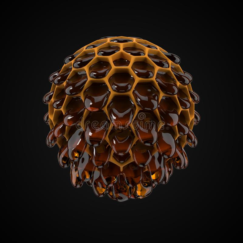 Spherical honeycomb with flowing honey droplets. 3d illustration. Spherical honeycomb with flowing honey droplets. suitable for, honey, beekeeping and food stock illustration