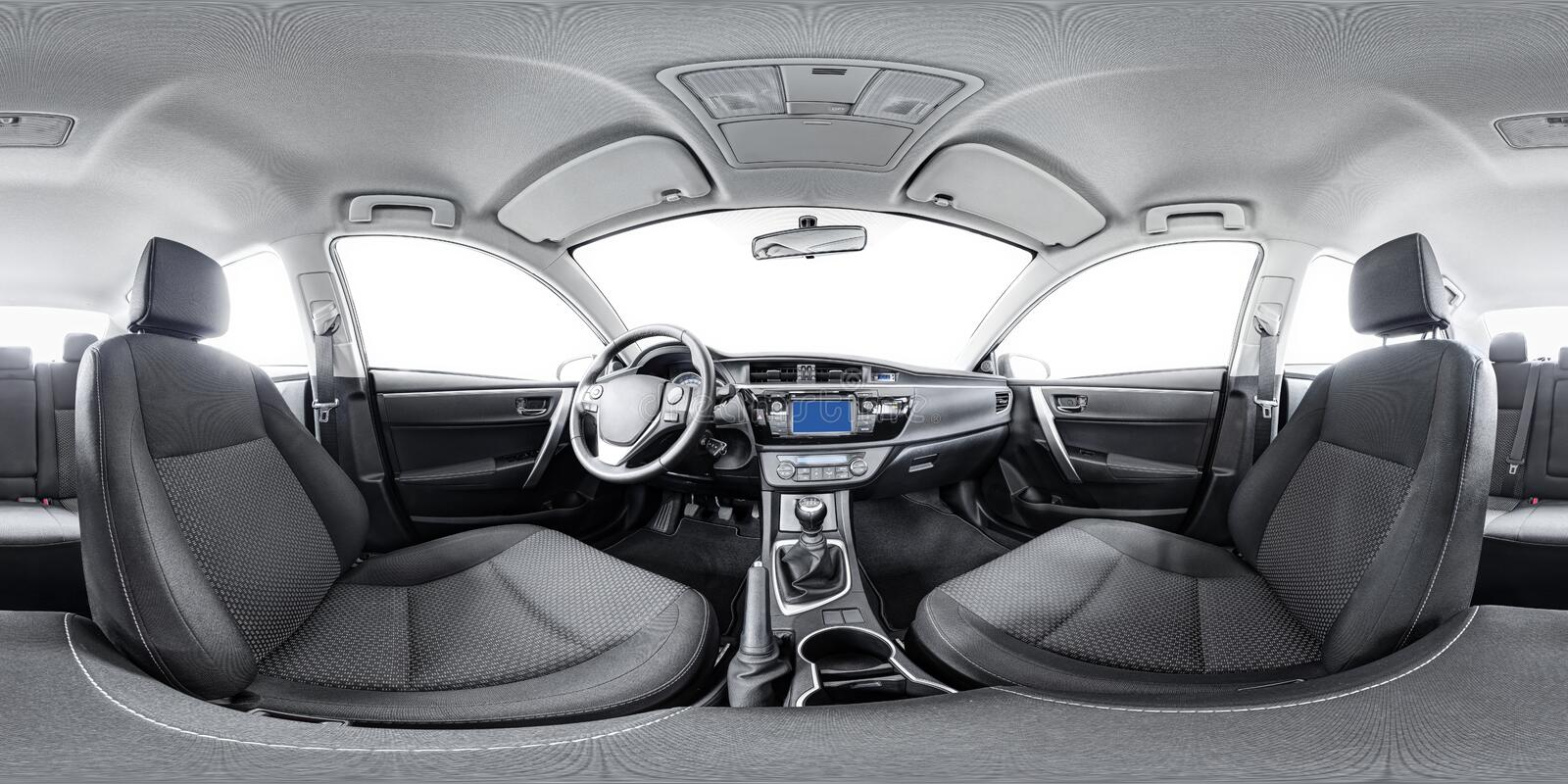 Spherical 360 panorama of car stock images