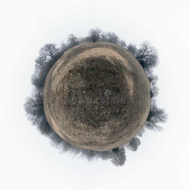 Spherical panorama of a drab, gloomy field with dry grass,. Surrounded by leafless trees in heavy fog; concept of a sad, desolate planet royalty free stock photo