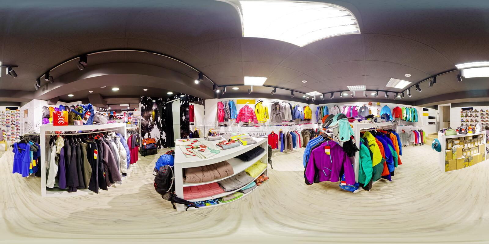 Spherical panorama of the interior of sportswear store 360 to 180 degrees royalty free stock photos