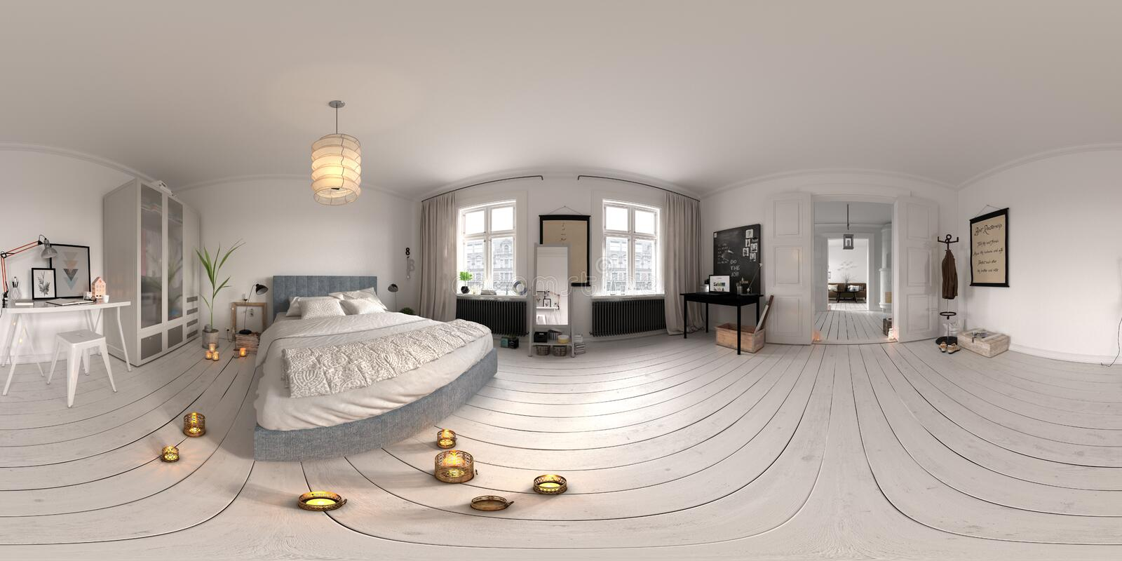 Spherical 360 panorama projection Bedroom interior 3D rendering royalty free illustration