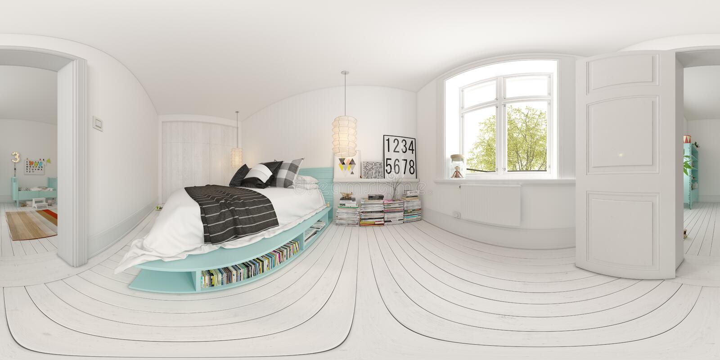 Spherical 360 panorama projection Bedroom interior design 3D rendering stock illustration