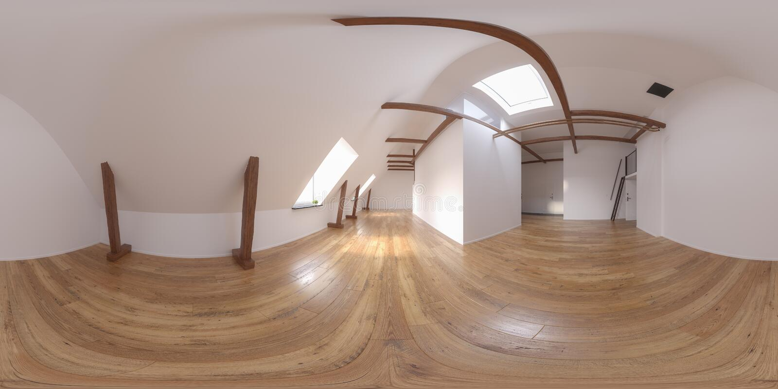 Spherical 360 panorama projection Interior empty room 3D rendering stock illustration
