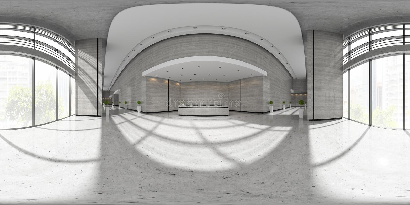 Spherical 360 panorama projection Interior of reception 3D illustration stock illustration