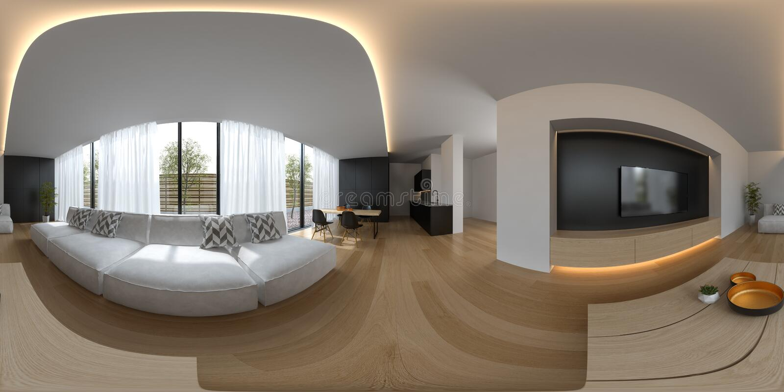 Spherical 360 panorama projection Scandinavian style interior design 3D rendering royalty free illustration