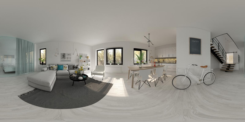 Spherical 360 panorama projection Scandinavian style interior design 3D rendering stock illustration