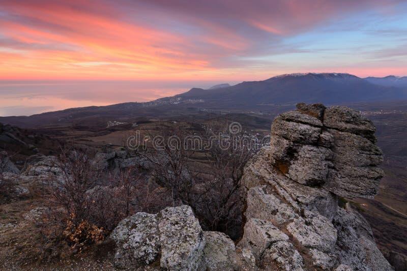 Sphinx. Beautiful view of sunny meadow at dawn, Demerji, Crimea stock image