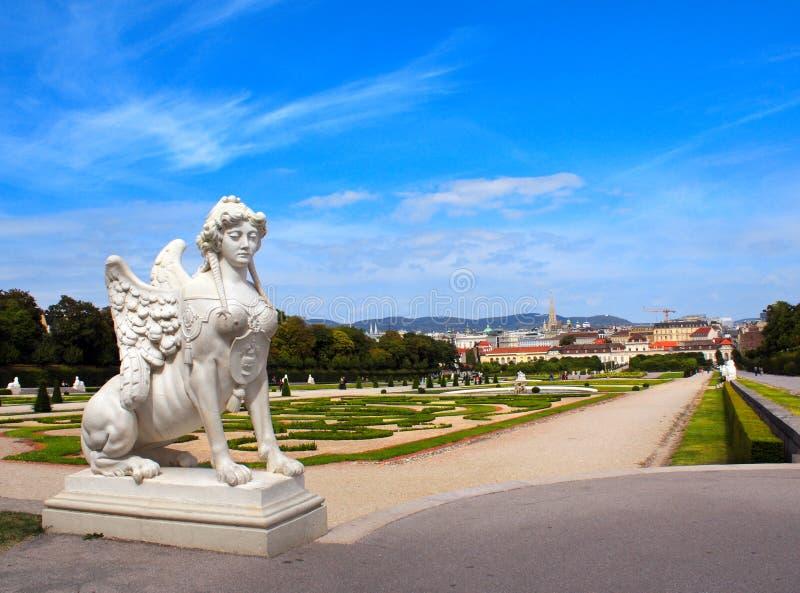 Sphinx for Belvedere garden, Vienna. Sphinx statue and Belvedere garden, Vienna, Austria royalty free stock image