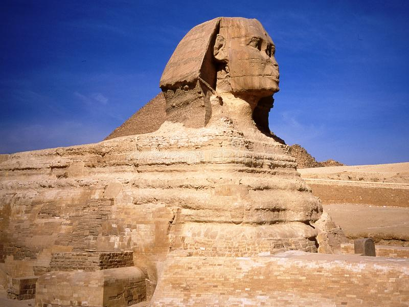 The sphinx in Cairo in Egypt. Statue of the sphinx in Cairo. Cairo in Egypt stock images
