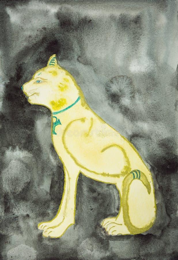 Sphinx d'or sur un fond noir illustration libre de droits