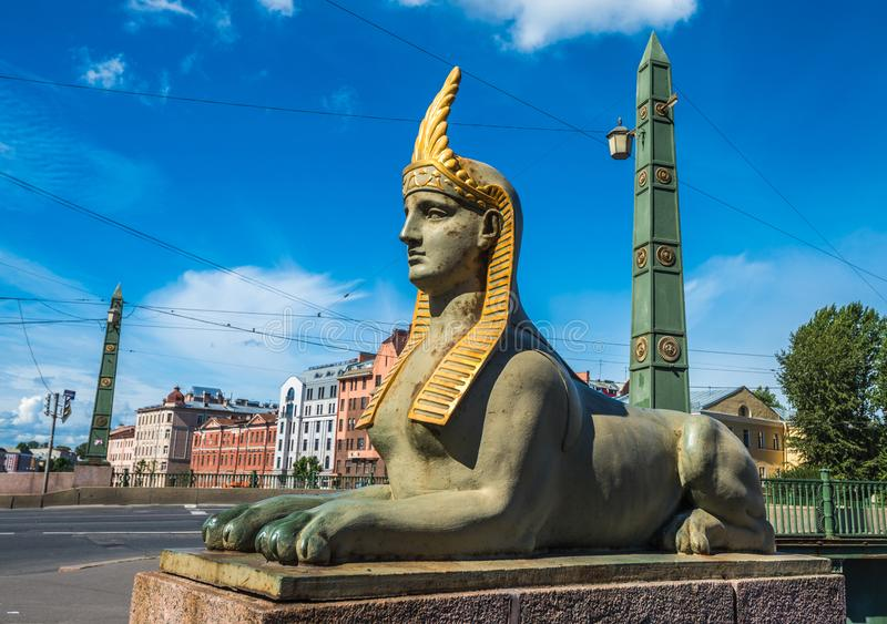 Sphinx of Egyptian bridge over the Fontanka river, Saint Petersb. Urg, Russia stock images