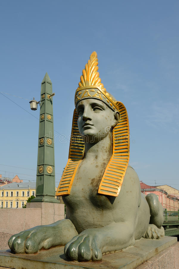 Sphinx of Egyptian bridge over the Fontanka river. St. Petersburg, Russia royalty free stock image