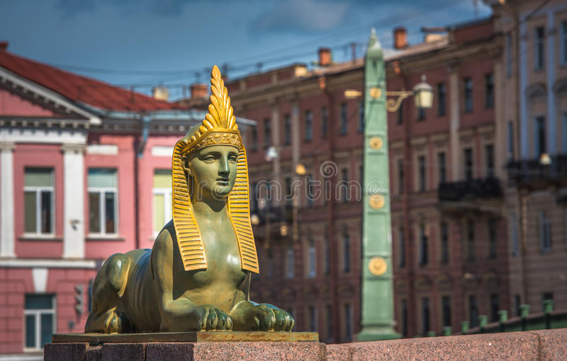 Sphinx of Egyptian bridge over the Fontanka river, Saint Petersburg, Russia stock images