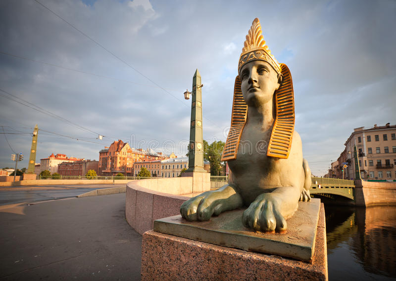 Sphinx on Egyptian Bridge in St.Petersburg. Sphinx chimera on Egyptian Bridge over Fontanka River in Saint-Petersburg, Russia royalty free stock photography