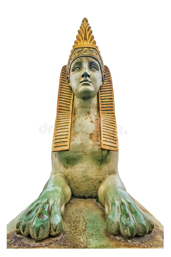 Sphinx on the Egyptian bridge in St. Petersburg. isolated sphinx bridge element.  stock photography