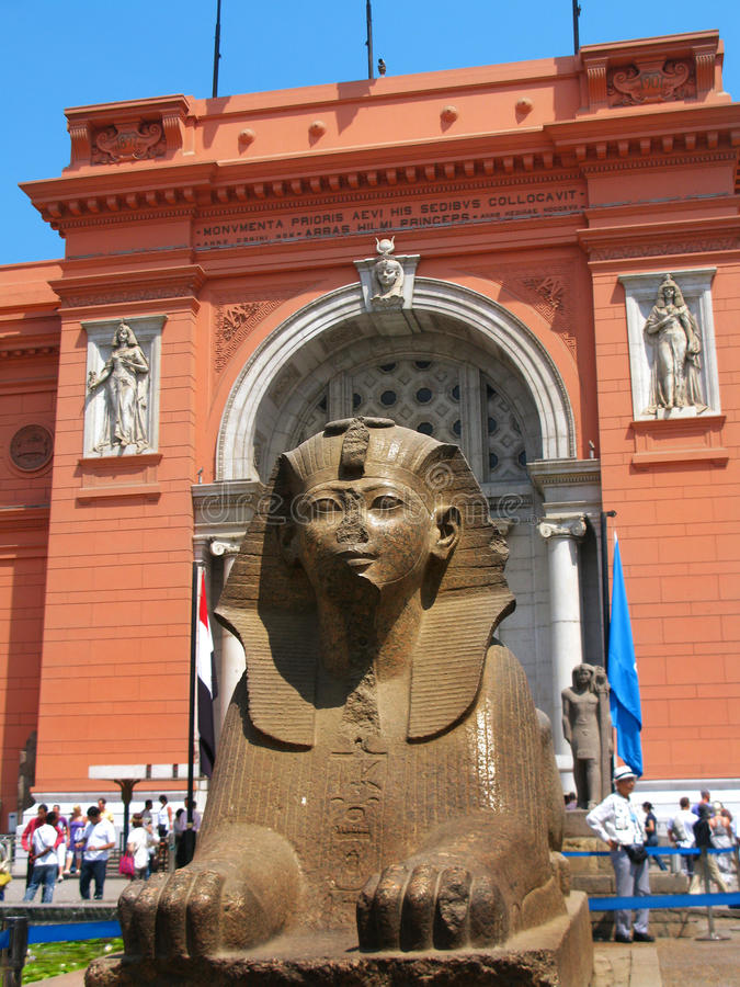 Sphinx at the Egyptian Museum, in Tahrir Sq, Cairo. Sphinx at the Egyptian Museum, in front of Tahrir Square (where massive anti-government demonstrations took stock image