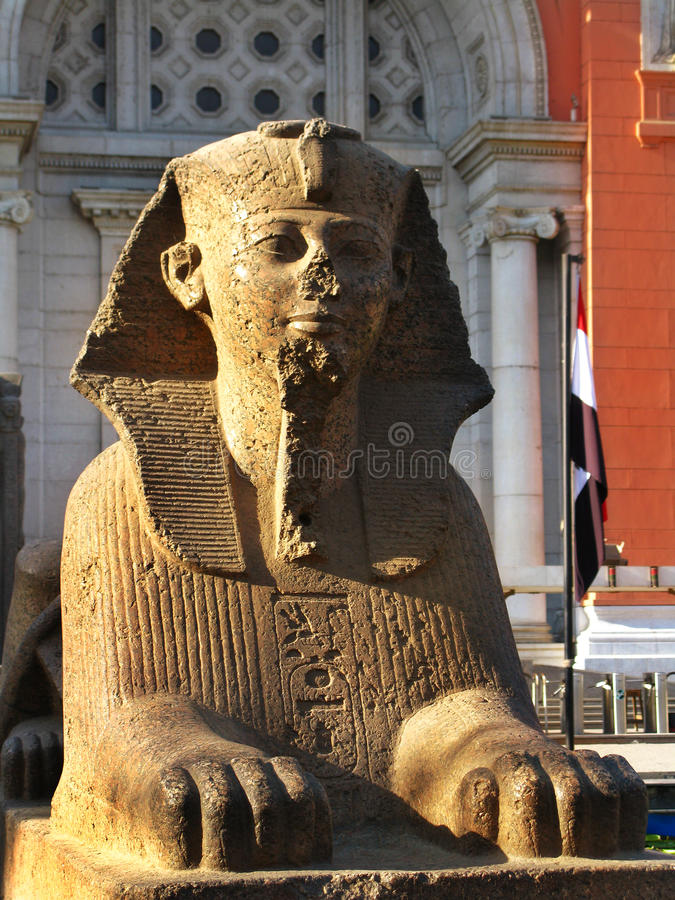 Sphinx at the Egyptian Museum, in Tahrir Sq, Cairo. Sphinx at the Egyptian Museum, in front of Tahrir Square (where massive anti-government demonstrations took royalty free stock photography