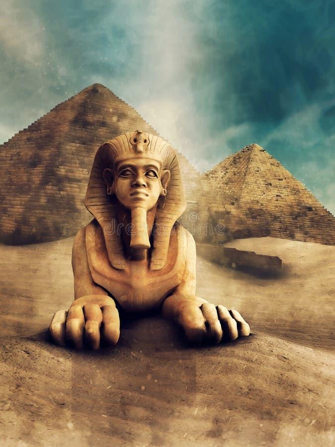 Sphinx et pyramides en pierre illustration de vecteur