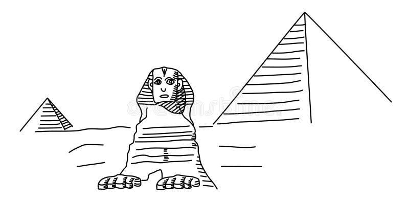 Το Sphinx σε Giza και την πυραμίδα ελεύθερη απεικόνιση δικαιώματος