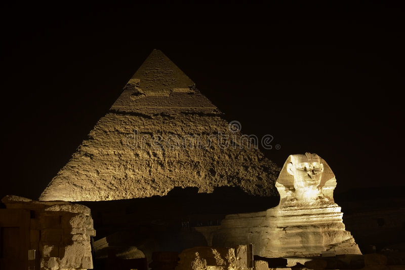 Sphinx and Giza Pyramids stock images