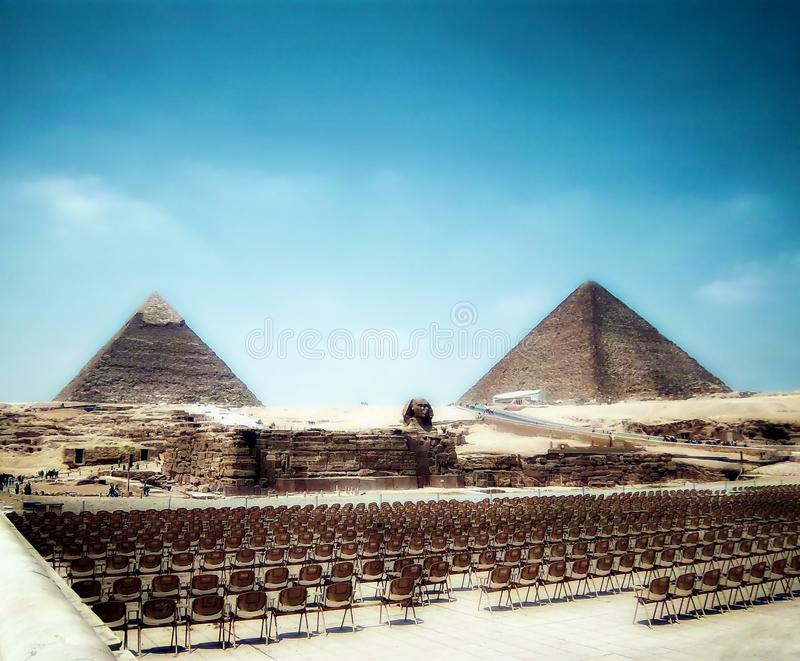 Sphinx and Giza's Great Pyramids stock photography