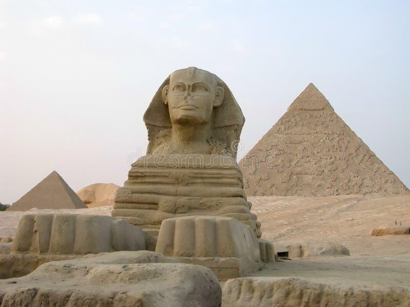 Sphinx grand et pyramide grande de Giza photos libres de droits