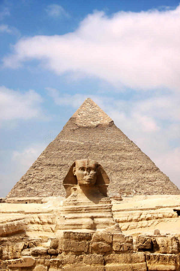 Sphinx and the Great Pyramid. In the Egypt royalty free stock image