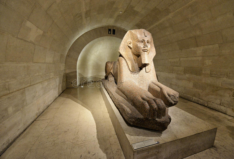 Sphinx in Museum Louvre stock image