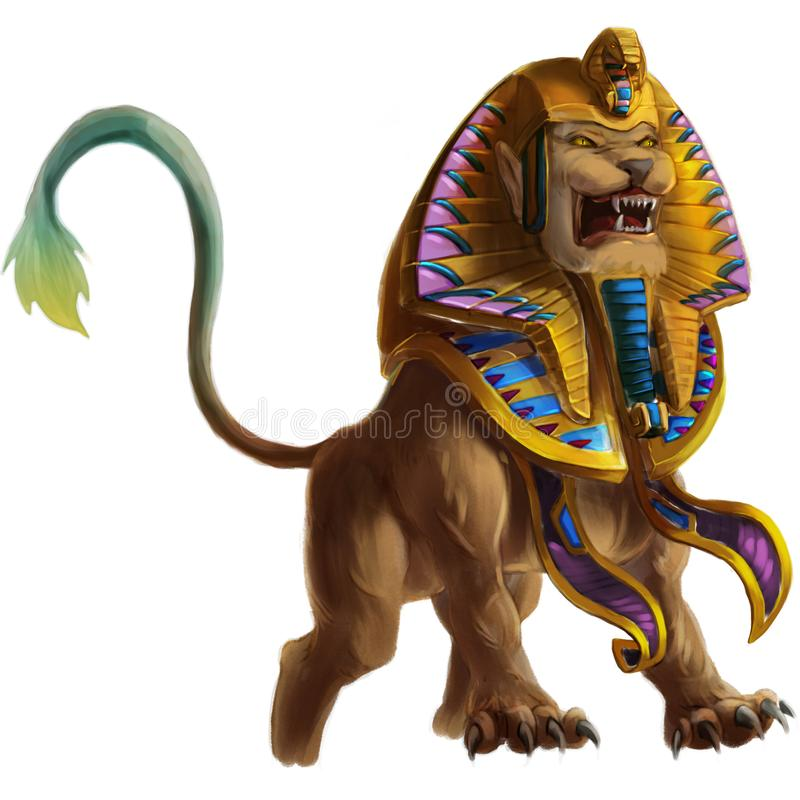 Sphinx, the Mystery Mythical Creatures from Middle Ages and Medieval. Concept Art. Realistic Illustration. Video Game Digital CG Artwork. Character Design stock illustration