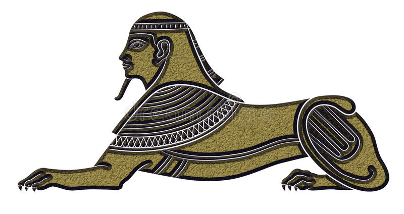 Sphinx - mythical creature. Of ancient Egypt on white background royalty free illustration