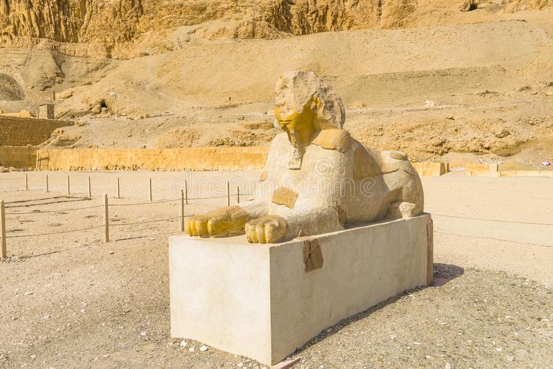 Mortuary Temple of Hatshepsut, Egypt. A sphinx near Mortuary Temple of Hatshepsut from the entry point, Egypt royalty free stock image