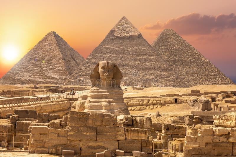 The Sphinx and the Piramids, famous Wonder of the World, Giza, Egypt.  stock photo
