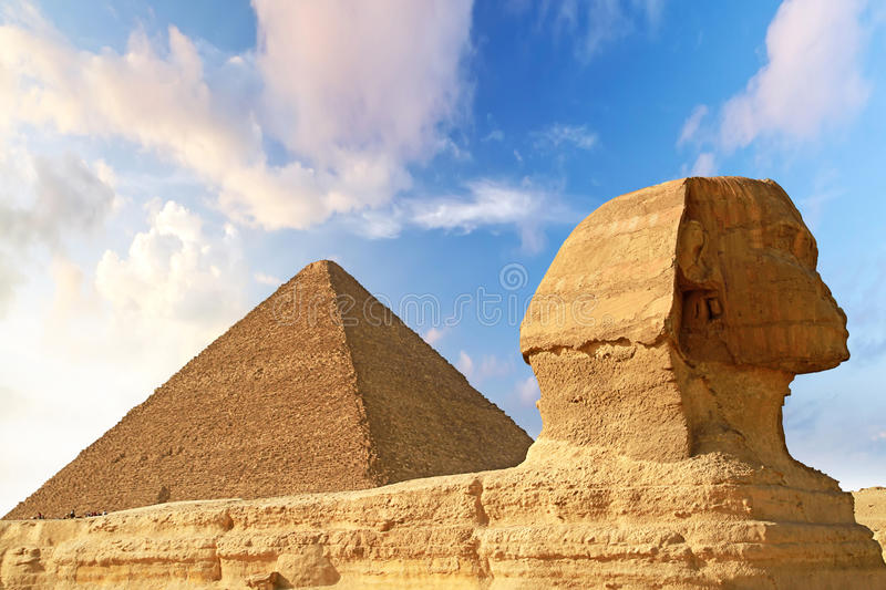 Download Sphinx And Pyramid Of Chefren In Giza Stock Image - Image of myths, famous: 24686183