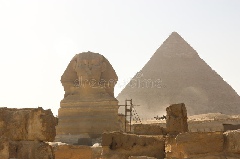 Sphinx and Pyramid. The famous Sphinx and the pyramid of Chefren stock image