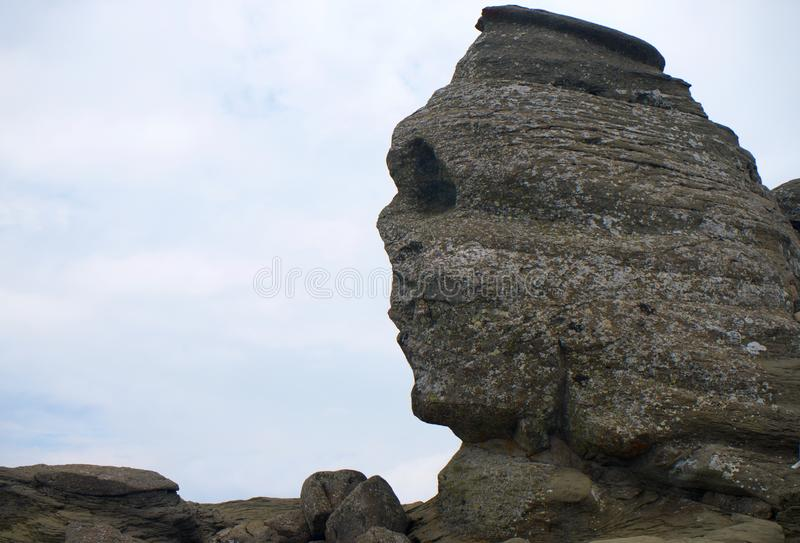 Sphinx rock in Bucegi Mountains Carpathians in Romania Europe royalty free stock photo