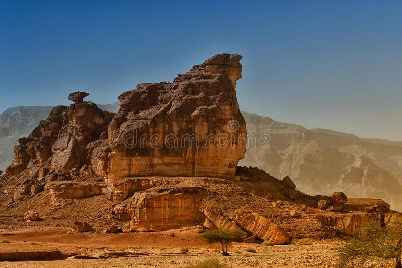 Sphinx rock in Timna national park, Israel royalty free stock images