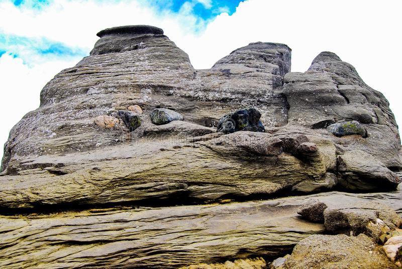 Sphinx of romania. Babele meaning The old women is a name for an area on the Bucegi Mountains plateau in Romania, within the Southern Carpathians. Babele is one royalty free stock images