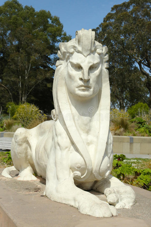 Sphinx statue by Arthur Putnam in the front of De Young Museum in Golden Gate Park. SAN FRANCISCO, CALIFORNIA - MARCH 29: Sphinx statue by Arthur Putnam in the stock photos