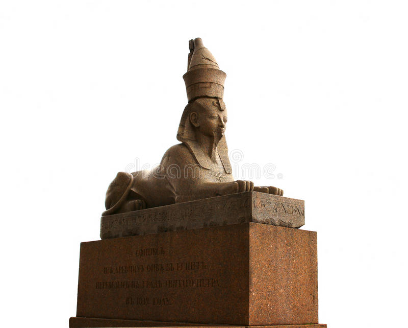 Sphinx statue of brown marble in St. Petersburg. (Russia) isolated stock photography