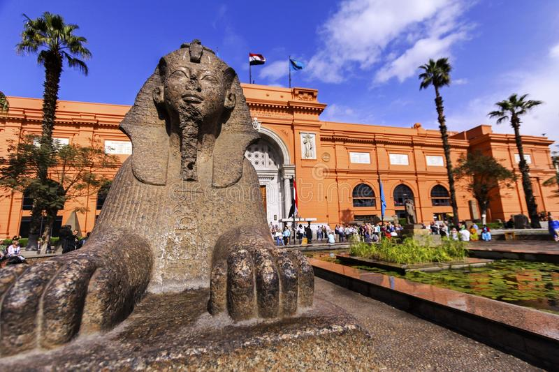 Sphinx Statue and Cairo Egyptian Museum royalty free stock photo