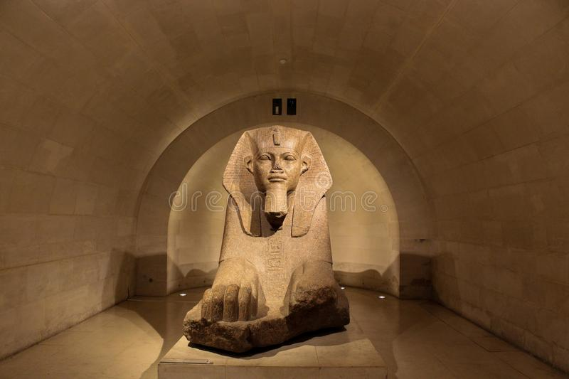 Sphinx statue in stone Louvre Paris France stock photos