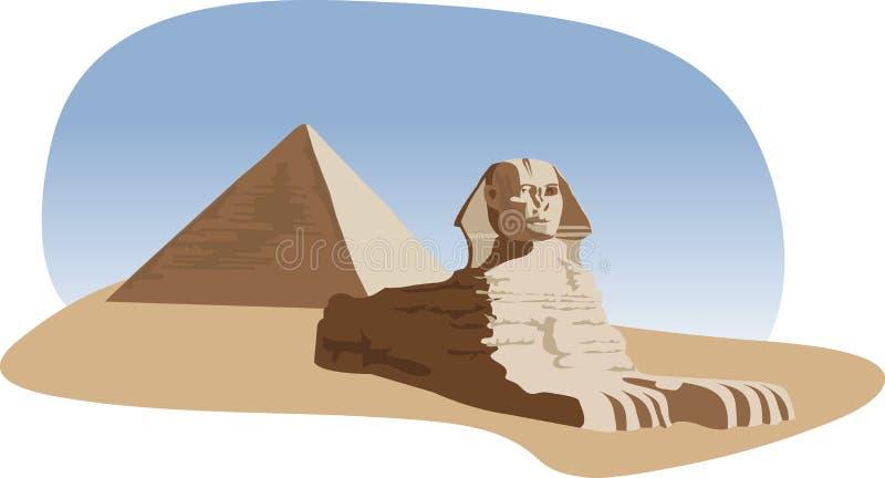 Sphinx und Pyramide stock abbildung
