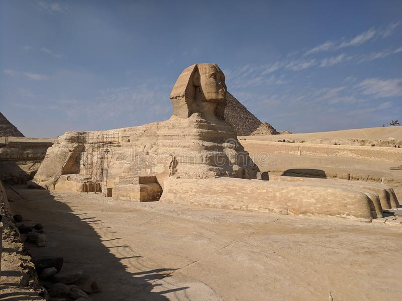 Sphinxs with the pyramid in the background royalty free stock photography