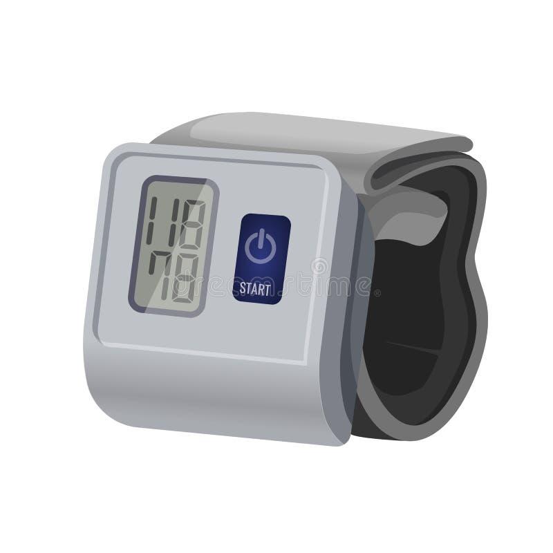 Sphygmomanometer, blood pressure meter with monitor or gauge device stock illustration